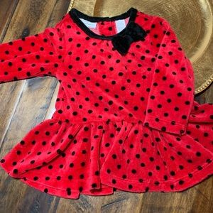 Red polka dot long sleeve with bow